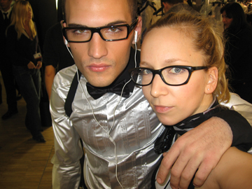 Me with boy model, Clay, backstage at D&G uomo in Milan.